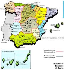 spain on a map map of spain historical regions planetware