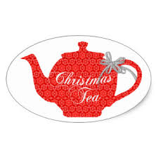 christmas tea party 5x3cm lovely teapot for christmas tea party oval sticker in