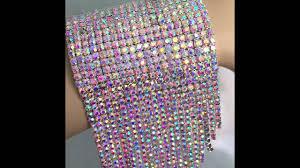 rhinestone cuff bracelet images Rhinestone crystal cuff bracelet with long fringe ab jpg