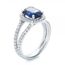 Halo Wedding Rings by Custom Blue Sapphire And Diamond Halo Engagement Ring 102018