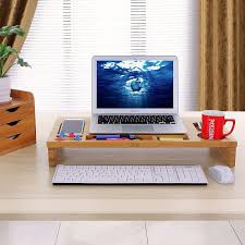 Under Desk Printer Stand Wood by Amazon Com Songmics Bamboo Monitor Stand Riser With Storage