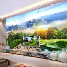 compare prices on wall mountain tv online shopping buy low price 3d murals wallpaper for walls diy lakes mountains wooden bridge landscape modern art wall papers living