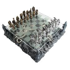 pewter and glass dragon chess set