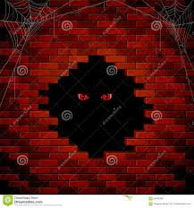 halloween background eyes evil eye in the hole of the brick wall stock vector image 60682088