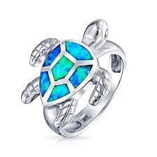 blue opal 925 sterling silver blue opal inlay nautical sea turtle ring