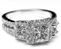 rings large stones images Engagement ring three stone princess diamond halo split band jpg