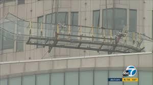 sky slide lifted floors us bank tower in dtla abc7 com