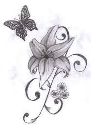 black ink flower with butterfly design
