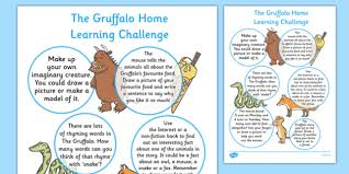 home learning challenge sheet to support teaching the gruffalo