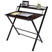Space Saving Laptop Desk Tangkula Foldable 2 Tier Writing Desk Computer Office