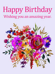 painted flower design happy birthday card birthday greeting