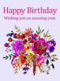 painted flower design happy birthday card birthday greeting
