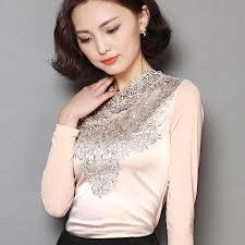 plus size silk blouse royal design lace blouse mesh sleeve silk tops