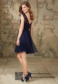 wholesale modest short navy blue bridesmaid dresses lace abiti