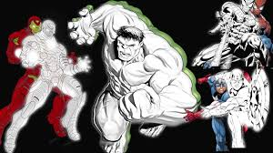 super hero coloring page for kids hulk vs spiderman vs captain