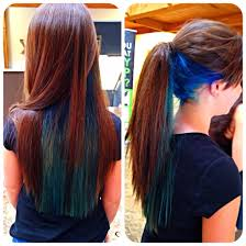 what are underneath layer in haircust blue and teal under layer bright longhair colors kathy s work