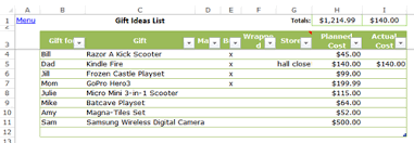 excel christmas planner