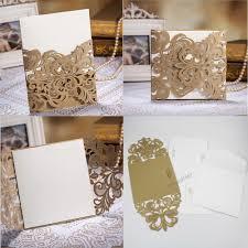 high class wedding invitation card laser cut flower gold