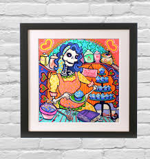 kitchen art day of the dead bakery poster mexican folk art