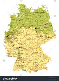 Germany Map Freiburg by Germany Map Relief Cities Lakes Rivers Stock Vector 388330702
