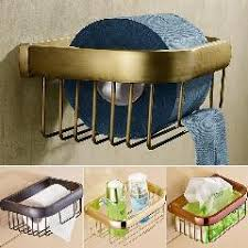 Bathroom Necessities Multi Colors Brass Wall Mount Bathroom Basket For Roll Paper