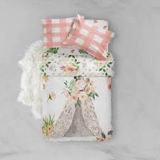 Toddler Comforter Toddler Bedding Sets Pink Peach Gold Boho Flower Teepee