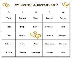 wedding words for bingo golden anniversary party 50th wedding anniversary party bingo
