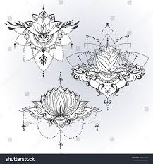 three handdrawn lotus flowers east style stock vector 461319679