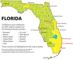 Map Florida Counties by Caribbean Cruise Line Bahamas Cruise Registration