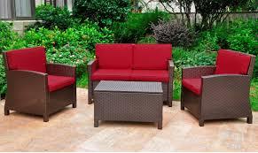 Wicker Deep Seating Patio Furniture - three posts binney wicker resin 4 piece deep seating group with