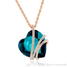 turquoise crystal necklace images Wholesale 9 heart swarovski crystal necklaces high grade brief jpg