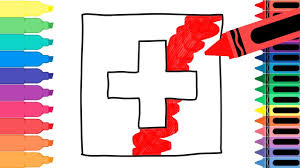 how to draw switzerland flag drawing the swiss flag coloring