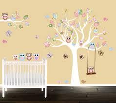 Owl Wall Decals Nursery by Custom Vinyl Wall Decal Nursery Tree Set Birds Butterflies And