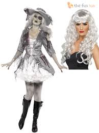ladie ghost ship zombie pirate costume wig womens halloween