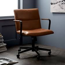 Leather Office Chair Cooper Mid Century Leather Swivel Office Chair West Elm