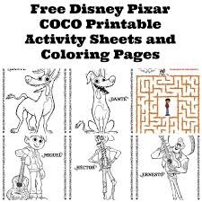 free disney pixar coco printable activity sheets coloring