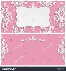 Invite Card Design Pink Vintage Background 3d Floral Damask Stock Illustration