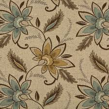 Upholstery Linen Fabric By The Yard Beige Brown And Teal Floral Vines Indoor Outdoor Upholstery Fabric