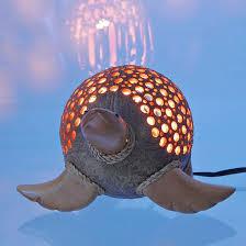 coconut shell teak sea turtle lamp clb 299