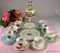 vintage china with pink roses blue pink mismatched china tea set cake stand