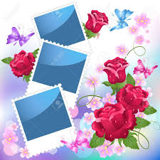 page layout photo album with roses and butterfly royalty free
