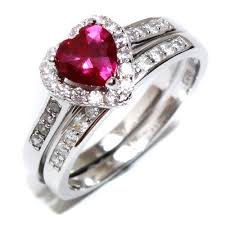 ruby red rings images Ruby heart promise ring with band red cubic zirconia beautiful jpg