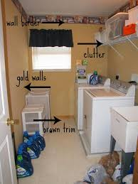 diy small laundry room makeover with light gold paint wall