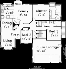 One Level Living Floor Plans Ranch House Plan 3 Car Garage Basement Storage