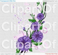 clipart purple gerbera daisy flowers over swirls and splatters