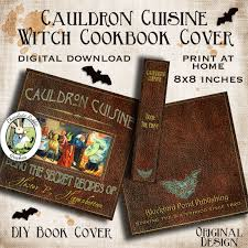 halloween photo book halloween witch cook book cover printable vintage digital