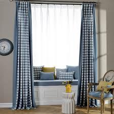 Blue Plaid Curtains Pastoral Style Linen Jacquard Blue Plaid Country Curtains For