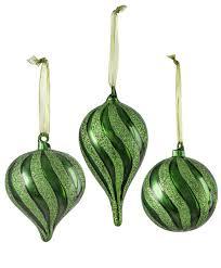 green glitter glass ornament set tree classics