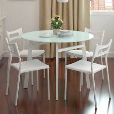 Glass Small Dining Table Small Kitchen Table And Chairs For Four Backrest Combined Metal