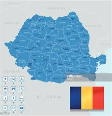Map Of Romania Map Of Romania States Cities Flag Navigation Icons Vector Art